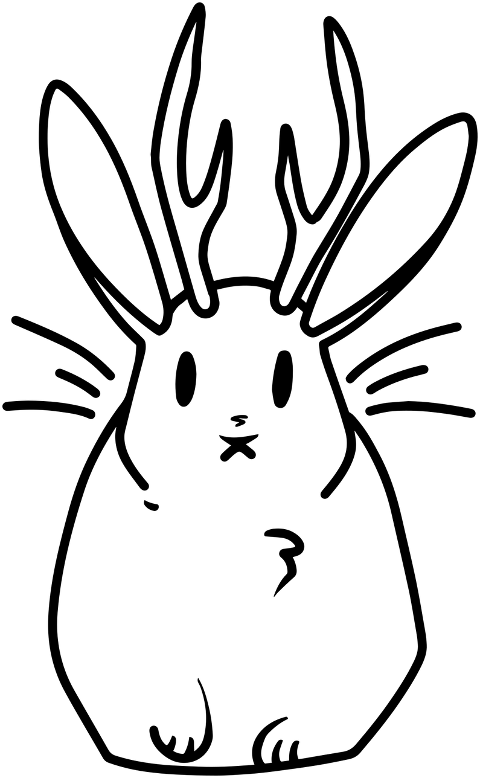 jackalope-rabbit-line-art-fantasy-6158754